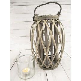 Lampion na świece, latarnia wiklinowa ażurowa 32 cm