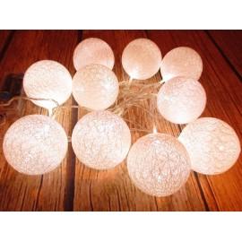 COTTON BALLS & RATTAN BALLS LAMPKI KULE 10 LED 180 cm