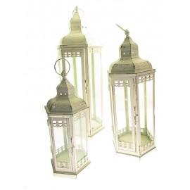 LATARNIE LAMPIONY METALOWE Z SZYBKAMI 64 cm 3 szt w  kpl.