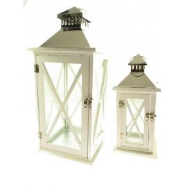 LAMPIONY METALOWE I DREWNIANE CHROM 50cm 2 szt