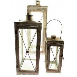 LAMPIONY METALOWE I DREWNIANE CHROM 74cm 3 szt