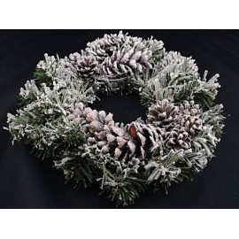 Sztuczny wianek świerkowy z szyszkami, śnieżony 28 cm