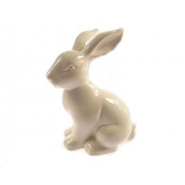 Zajączek z Ceramiki Szkliwionej Biały Wielkanocny 19,5 cm