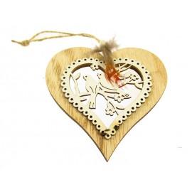 Serce z Ptaszkami Zawieszka z Drewna