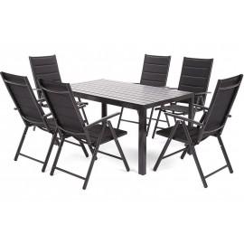 Meble Ogrodowe Aluminiowe Zestaw Mebli Ogrodowych Stół i 6 Krzeseł Black / Black 6+1