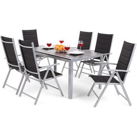 Meble Ogrodowe Aluminiowe Zestaw Mebli Ogrodowych Stół i 6 Krzeseł Silwer / Black 6+1