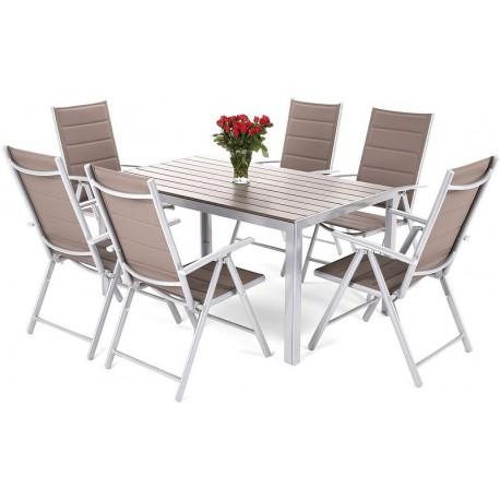 Meble Ogrodowe Aluminiowe Zestaw Mebli Ogrodowych Stół i 6 Krzeseł Silwer / Toupe 6+1