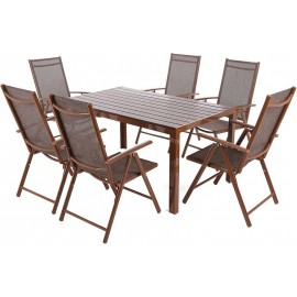 Meble Ogrodowe Aluminiowe Zestaw Mebli Ogrodowych Stół i 6 Krzeseł Brown / Brown 6+1
