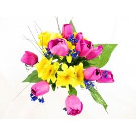 Żonkil,tulipan,irys bukiet 41 cm, mix  kolorów