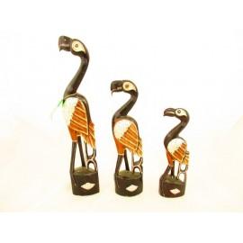 Flamingi dekoracyjne z drewna egzotycznego  kpl.