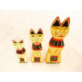 Figurki dekoracyjne koty z drewna egzotycznego  kpl.