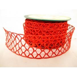 Wstążka siatka czerwona 4 cm