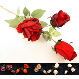Gałązka róża potrójna 72 cm mix 6 kolorów