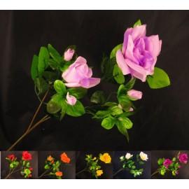 Gałązka róża potrójna 65 cm, mix 6 kolorów