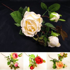 Gałązka róża potrójna 65 cm, mix 4 kolorów - sztuczne kwiaty róże