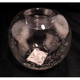Świecznik szklany grawerowany z zimowym motywem 8 cm