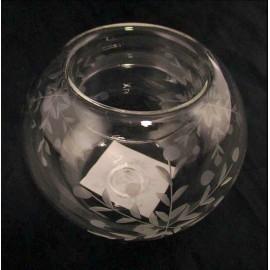 Świecznik szklany grawerowany z zimowym motywem 6,5 cm