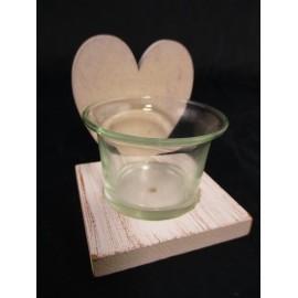 Świecznik na podgrzewacze (świece tealight) ze szklaną podstawką, serce