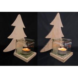 Świecznik drewniany choinka ze szklanym kloszem, 29,5 cm