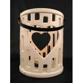 Świecznik fajansowy, lampion ceramiczny z sercem