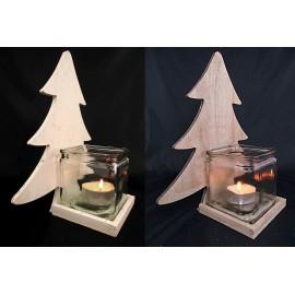 Świecznik drewniany choinka ze szklanym kloszem 34,5 cm