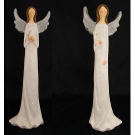 Anioł figurka ceramiczna Z motywem serce ptaszek 47 cm