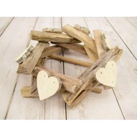 Wianek drewniany z sercami 9cm x 21cm