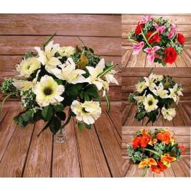 Bukiet sztucznych lilii i maków DUŻY - 53 cm. 18 gałązek, mix kolorów