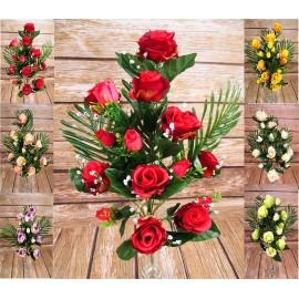 Bukiety sztucznych róż: 16 gałązek, 56 cm., mix kolorów