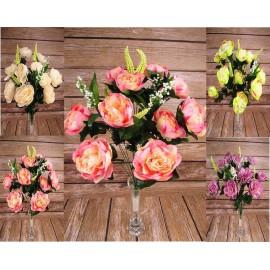 Bukiety sztucznych róż: 18 gałązek, 64 cm., mix kolorów