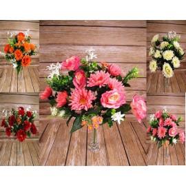 Bukiety wielokwiatowe, gerbery, róże,margaretki, liście 24 gałązkowy 64 cm
