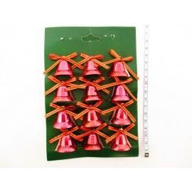 Dzwoneczki świąteczne 2,5 cm, 12 szt., złote i czerwone