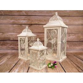 Lampiony metalowe z motylami i szybkami 52 cm 3 szt w  kpl.