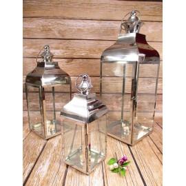 Lampiony metalowe chrom z szybkami 68 cm 3 szt w  kpl.