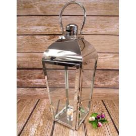 Lampion metalowy chrom z szybkami 45 cm
