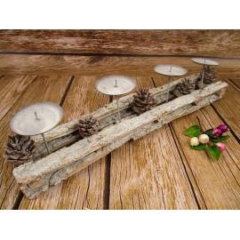 Świecznik adwentowy na 4 świece z kory 55 cm